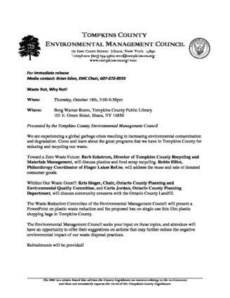 2018 10 9 EMC Press Release 10-18 EventV2 – Tompkins County
